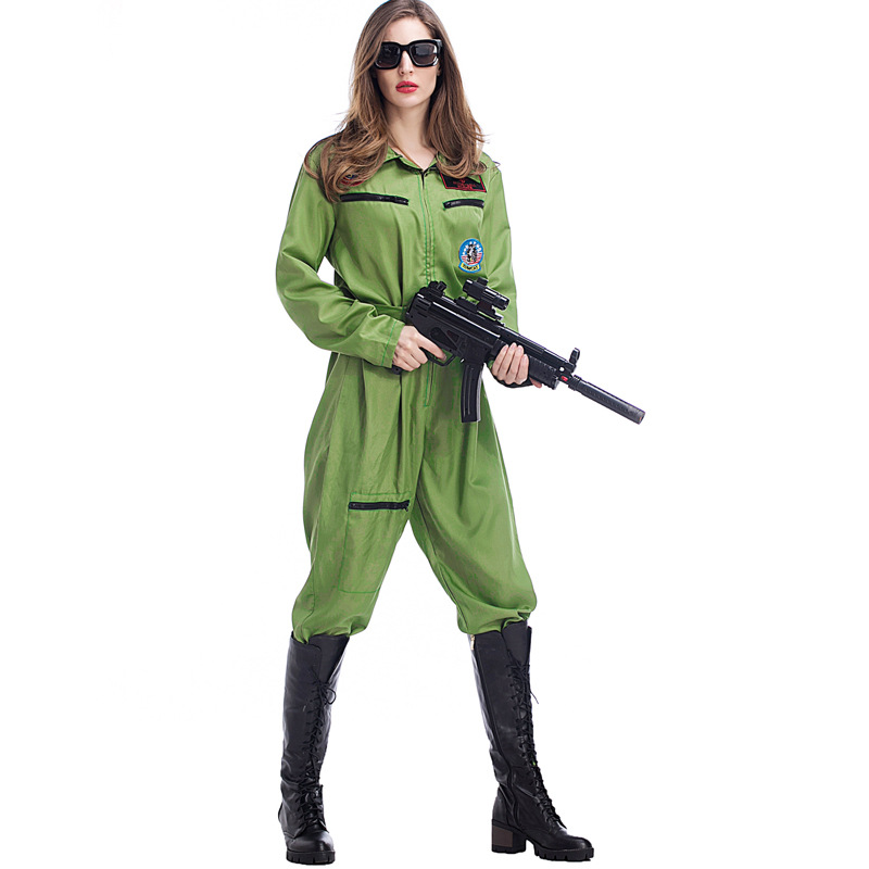 Deluxe Women Pilot Jumpsuit Costume Army Airman Aviator Wingman Jumpsuit  Flight Suit Cosplay Uniform-in Movie   TV costumes from Novelty   Special  Use on ... 55120a395d999