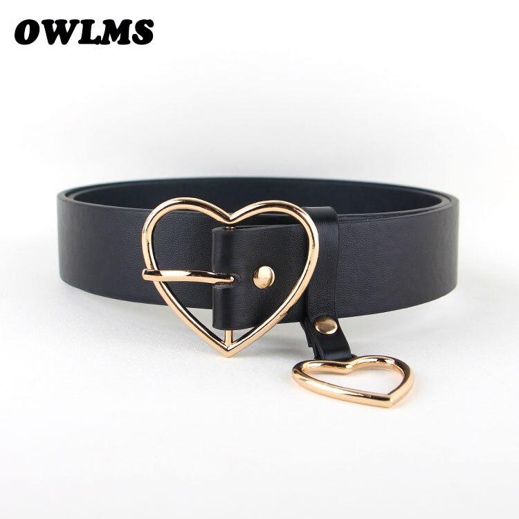 New Arrival Silver Pin Buckle Belts Girlfriend Gold Heart Shape Buckles Black Leather Women Punk Jean Belt Students Thin Gifts