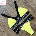 Sexy Carta Biquíni Amarelo Swimwear Mulheres Set Bikini Retro Push Acolchoado Swimsuit Maiô Beachwear Maillot de bain Biquini