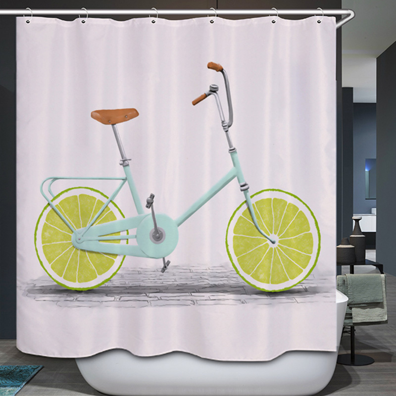 3D Cute Cartoon Orange Bicycle Pattern Polyester Bathroom Shower <font><b>Curtain</b></font> Waterproof Mildew Resistant Children Bath <font><b>Curtain</b></font>