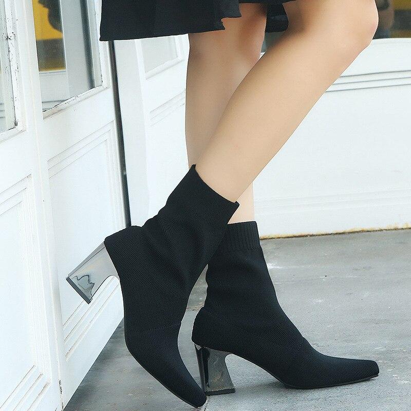 Y Conciso Delgada Las Botas Mujeres Zapatos Moda Alto rojo Tacón Elástico 2019 Negro Tienda Sexy Americana Europea Corto De StXSnqA