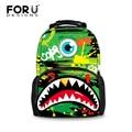 Mulheres Mochila para Os Meninos Adolescentes Bagpack FORUDESIGNS Tubarão Monstro 3D Emoji Impressão Mochilas Faculdade de Moda Pacote Laptop de Volta