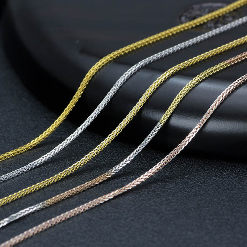 Puro oro amarillo collar deseado gran trigo enlace cadena collar 1 pieces4 Color 1,5 2,1g A01-in Collares de cadena from Joyería y accesorios    2