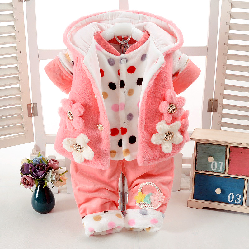 New Autumn & Winter Cute Baby Girl Clothes Set Add Cotton-Padded Warm 0-1-2 Years Newborn Infant Baby 3Pcs/Set Walking Dress new fashion baby girl cotton clothes kids girl thick warm cotton dress cute cartoon cat hooded girl dress spring autumn winter