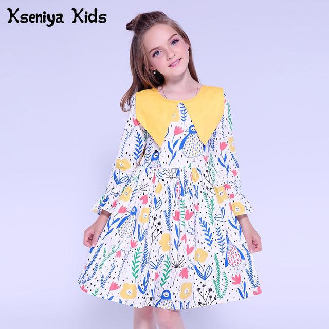 4fb669cfcfc452 Kseniya Kids Dresses For Girls Dress Long Sleeve Autumn Winter Flower  Princess Girl Birthday Party Dresses Baby Girl Clothes