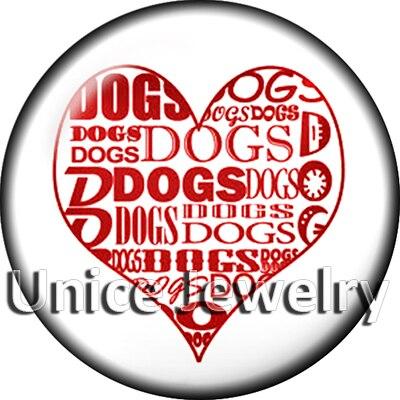 Ad1304935 12/18/20 мм кнопки на Талисманы для браслет Цепочки и ожерелья Лидер продаж DIY Выводы Стекло кнопки собака символ дизайн