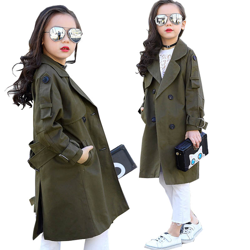 Children Overcoat Girls Trench Coat Khaki Kids Windbreaker Jackets Girls Outerwear Coats Double-breasted Coats 2018 Girls Coat khaki two pockets causal trench coat