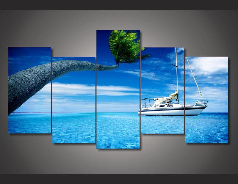 Modern Art Abstract Original Art Indoor Decor Sea ocean tropical island poster canvas 5 pieces