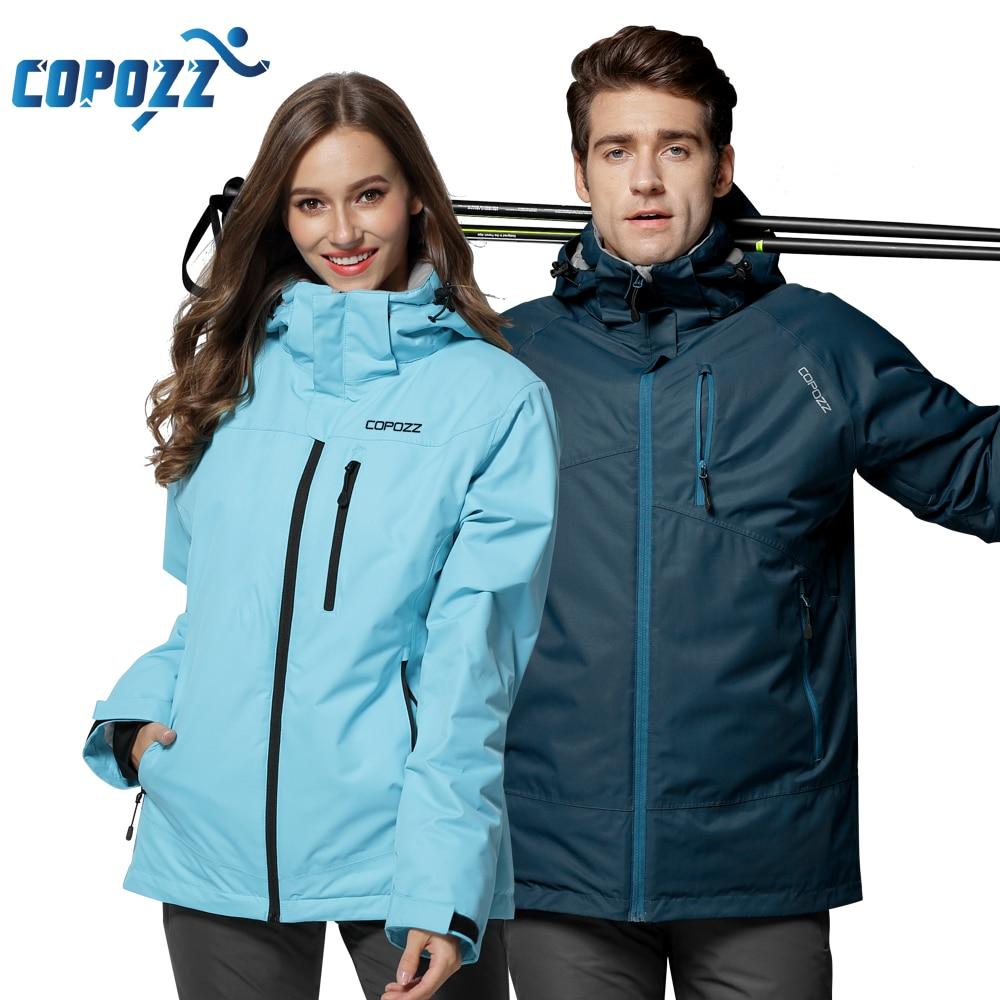 COPOZZ Snowboard Ski Suit Winter Mountain Waterproof Men Women Ski Jacket Windproof Female and Male Ski Set S-XXL Size недорого
