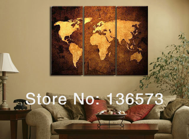 Handmade oil painting 3 piece canvas wall art brown world map handmade oil painting 3 piece canvas wall art brown world map pictures modern abstract paintings for gumiabroncs Images
