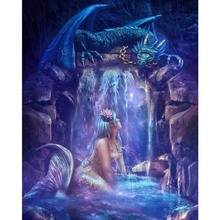 Mermaid dragon diamond Embroidery diy painting mosaic diamant 3d cross stitch pictures H502