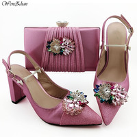 Newest Women Matching Italian Design Shoes and Bag Set for Wedding Pink Shoes with Matching Bag Italy style 38 43 WENZHAN B96 26