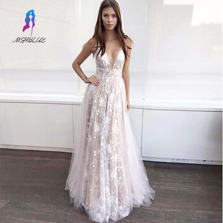 2017 Beautiful Lace Prom Dress Cheap Neck Spaghetti