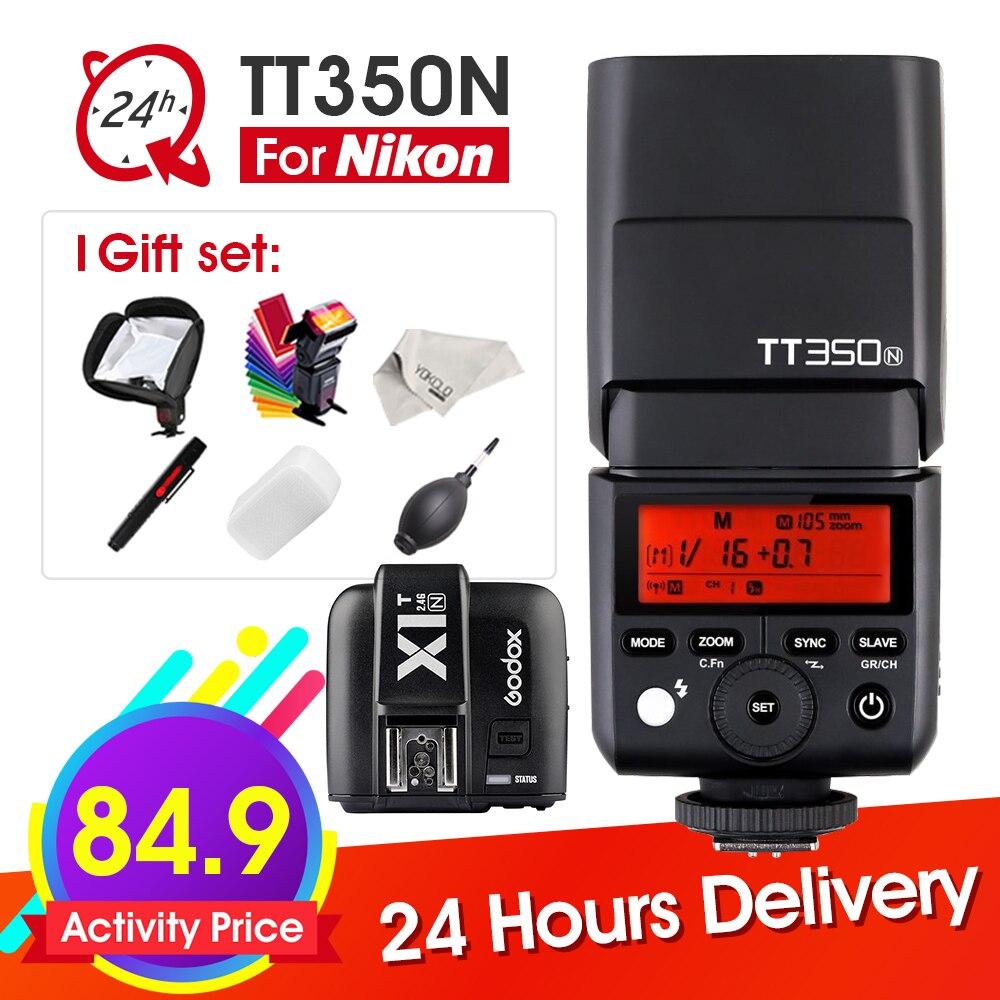 Godox TT350 TT350N MINI Flash Speedlite TTL 2.4G HSS GN36 1/8000s + X1T-N Trigger for Nikon DSLR + 6 Gift Kits yn e3 rt ttl radio trigger speedlite transmitter as st e3 rt for canon 600ex rt new arrival