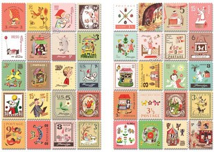 4 Sheets/lot Kawaii Cute Cartoon Korea Vintage Francoise Stamp Flakes Paper Stickers For Cards kid Decoration Diary Scrapbooking ca0633 canada 2014 mammal stamp all sheets 1ms new 0626