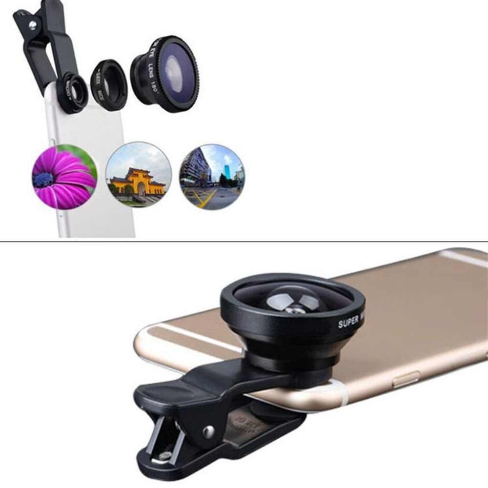 3 trong 1 Rộng Góc Ống kính mắt cá Camera Bộ Dụng Cụ Điện Thoại Di Động Cá Mắt Ống Kính với Kẹp 0.67X cho iPhone Samsung Tất Cả Các Loại Điện Thoại di động