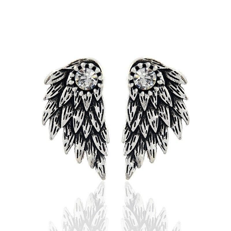 Новый Готический Серебряный Цвет Прохладный Крылья Ангела Сплава Серьги Cool Черное Перо Серьги для Женщины Мужчины Ювелирные Изделия