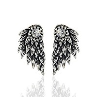Gothic silver color cool angel wings alloy stud earrings cool black feather earrings for women men.jpg 200x200