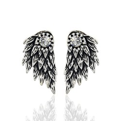 Gothic silver color cool angel wings alloy stud earrings cool black feather earrings for women men.jpg 250x250