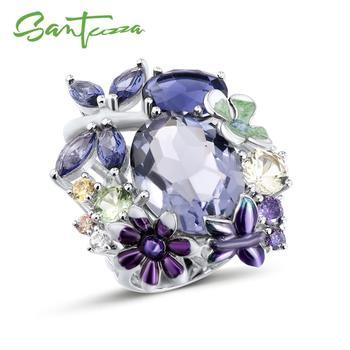 Anillo de plata SANTUZZA para mujer, Plata de Ley 925 pura, brillante, anillo púrpura increíble, joyería de moda hecha a mano, esmalte