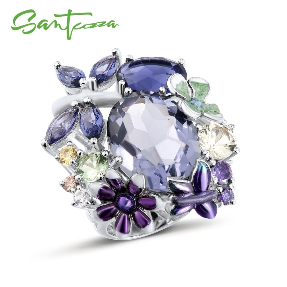 SANTUZZA Silver Ring For Women Pure 925 Sterling Silver Brilliant