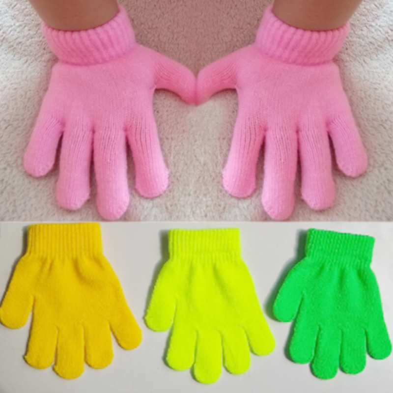 Lovely Solid Color Student Knitting Magic Gloves Keep Warm Child Autumn And Winter  Windproof 1 PC