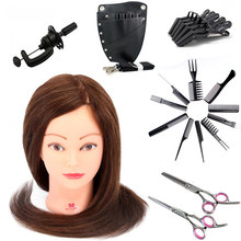 Mannequin Head With Hair Style Tool Set 90% Real Hair Training Head Hair Styling Mannequins Manikin Manequin Head Of a Doll(China)