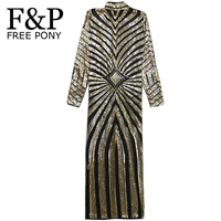 2017 Women Gold Sequins Long Dress O-Neck Full Sleeve Geometric Sequined Evening Party Dresses Clubwear vestidos