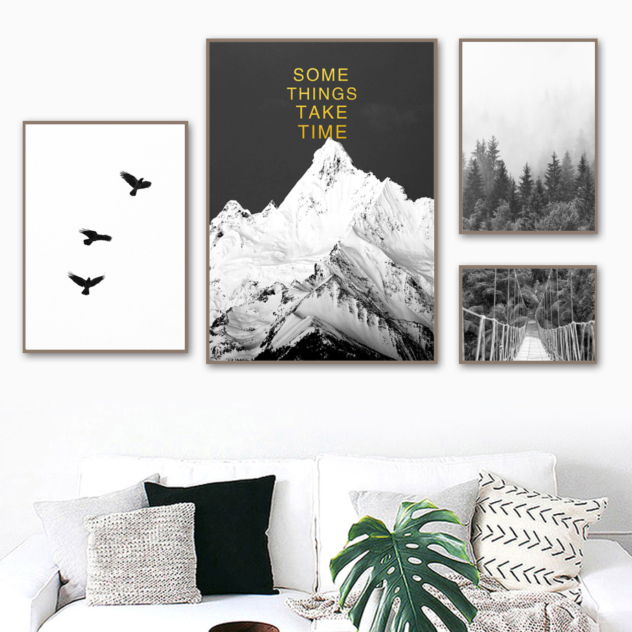 Snow Mountain Forest Bridge Life Quotes Wall Art Canvas Painting Nordic Posters And Prints Pictures For Living Room Decor