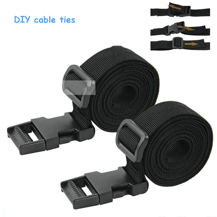 2pcs Wholesale ties 25mm*1.5M black cable tape Nylon Reusable Cable Ties cargo stap with buckle fix tighten cable fastener