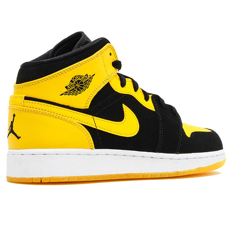 super popular ca8e6 516e8 Nike Air Jordan 1 Mid AJ1 Black Yellow Joe Men's Basketball Shoes Sneakers,  Original Outdoor Non-slip Shoes 554724 035