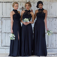Dark Navy Lace Bridesmaid Dresses 2020 Side Split Backless Halter Appliques A Line Floor Length Wedding Guest Prom Party Gowns