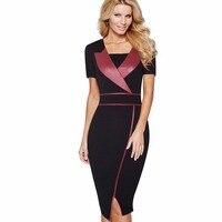 Professional Women Casual Work Office Business Bodycon Pencil Dress Short Sleeve PU Patchwork Split Summer Dress