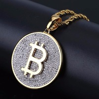 Micro Paved CZ Rhinestone Golden Round Bitcoin Coin Pendants Necklaces for Men Bling Ice Out Hip Hop Rapper Jewelry
