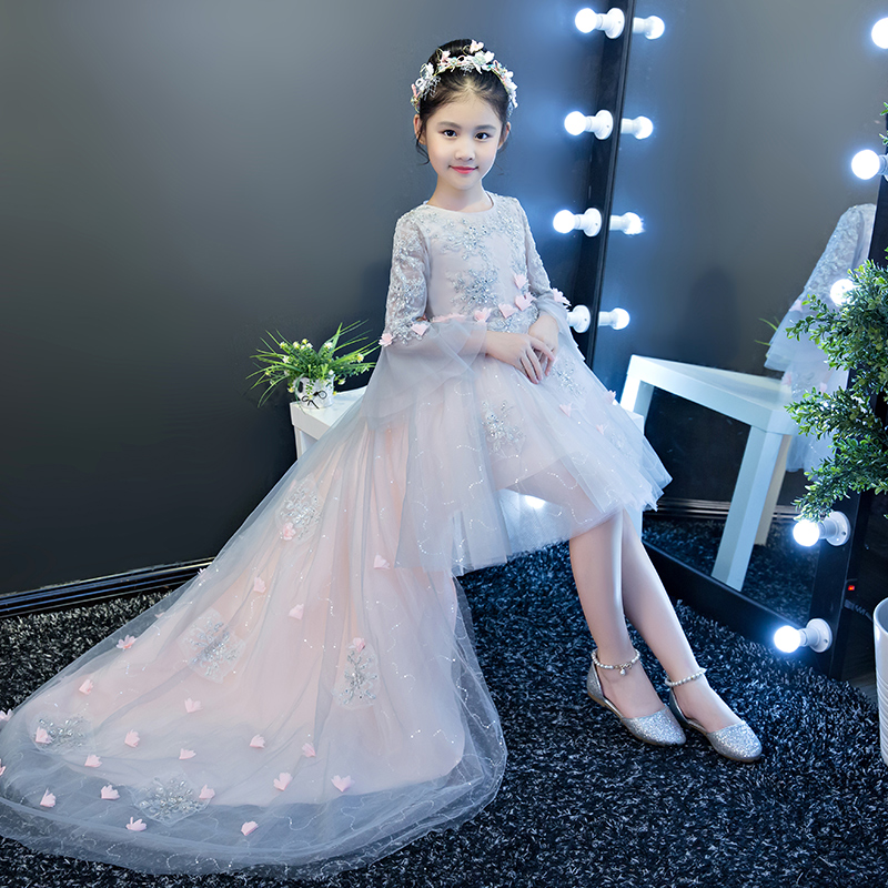 Short Front Long Back Children Girls Wedding Dress Flare Sleeve Floral Mesh Dresses for girl Lovely Trailing Party Dresses JF476 cut out front trumpet sleeve floral mesh bodysuit