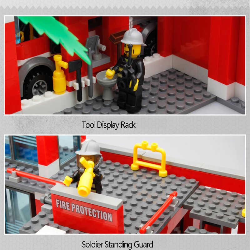 Dalam Saham Kazi City Fire Fighter Stasiun Pertempuran Mobil Teknik Blok Bangunan Set Playmobil Pendidikan Anak Laki-laki Mainan untuk Anak-anak