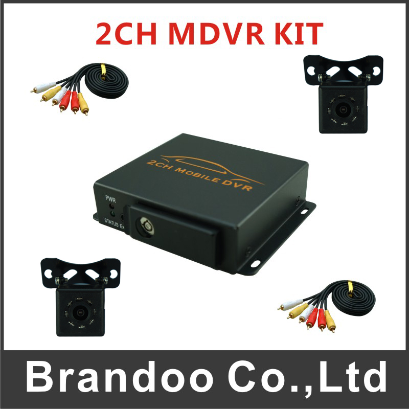 Free shipping 2 channel TAXI DVR kit, including 2 IR car camera and 5m video cables auto recording car dvr for taxi and bus used free shipping to russian