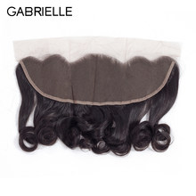 Gabrielle Peruvian Loose Wave 13x4 Lace Frontal Free Part Ear to Ear Non Remy Human Hair Lace Closure Natural Color(China)