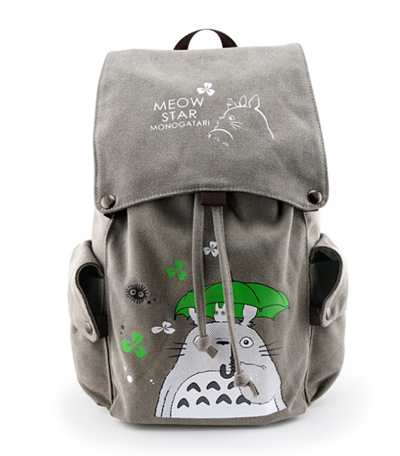 Anime Tonari no Totoro My Neighbor Totoro Backpack Canvas Teenagers School Bags Cover Drawstring Backpacks Travel Shoulder Bags tonari no totoro my neighbor totoro kawaii anime cartoon peripherals wallet p009