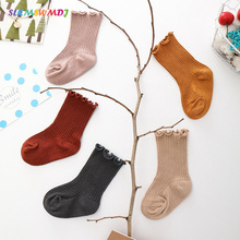 SLKMSWMDJ Spring new solid color children socks baby girls striped lace cotton breathable student for 0-7 years old