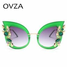 Ovza Алмаз Роскошные Солнцезащитные очки Для женщин ретро кошачий глаз Солнцезащитные очки Брендовая Дизайнерская обувь Модные прозрачные градиентные очки женские S178