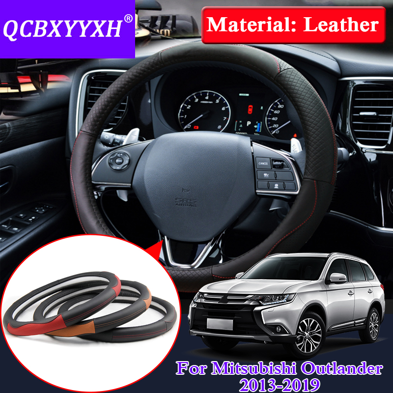 QCBXYYXH For Mitsubishi Outlander ASX 2013-2019 Car Styling Steering Wheel Cover Leather Internal Accessory Steering Wheel Cover