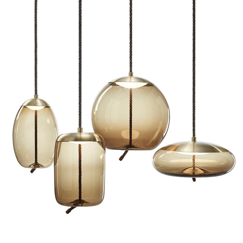 Lampes suspendues scandinaves post-modernes pour la maison lampe pendante décorative en verre de corde étude de chevet cuisine Restaurant Bar éclairage