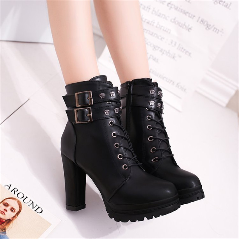 New Fashion Casual Women Boots Martin boots 2018 Autumn Winter Autumn Ankle Platform Ladies Boots PU Leather Shoes For Women Zip 6