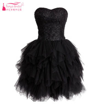 Mini/Short Schwarz cocktailkleider TuTu röcke Spitze Kristall Sexy Party kleider Lace Up Liebsten Homecoming Kleider Z856