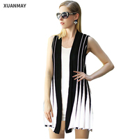 Sexy Women Large Size Summer Knitted Cardigan Sweater Vest Large Size Women Striped Knit Cardigan Sweaters