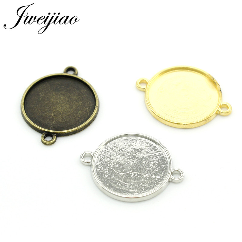 3pcs 20mm Antique Silver Round Pendant Base Setting Cabochon Pendant Blank Trays