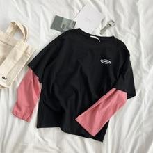 1fb8d907eb Mooirue Wiosna Jesień Koreański Tee Koszulka Damska Drukowanie Różowy 2 W 1  Patchwork Kolor O Neck Nowości Bawełna Pull swetry