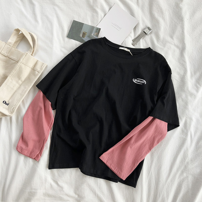 Mooirue Spring Autumn Korean Tee   T  -  shirt   Women Pink Printing 2 In 1 Patchwork Color O Neck New Arrivals Cotton Pull Pullovers