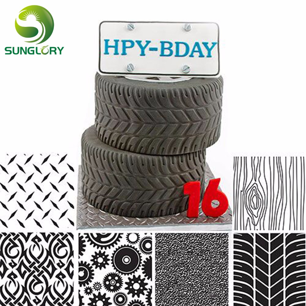 6PCS Manly Texture Sheet Set Tyre Texture Mat For Sugar Craft Decoration Cookie Cupcake Fondant Cake Mold Baking Tools For Cakes in Other Cake Tools from Home Garden